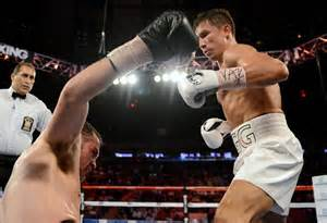 Golovkin delivers KO blow to Geale.