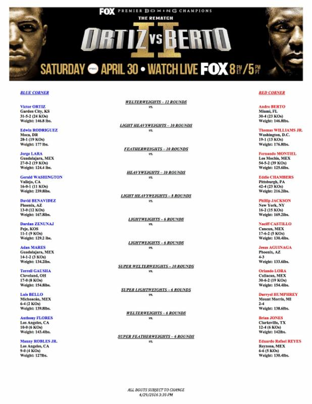 Weights & Photos for Saturday Night's Premier Boxing