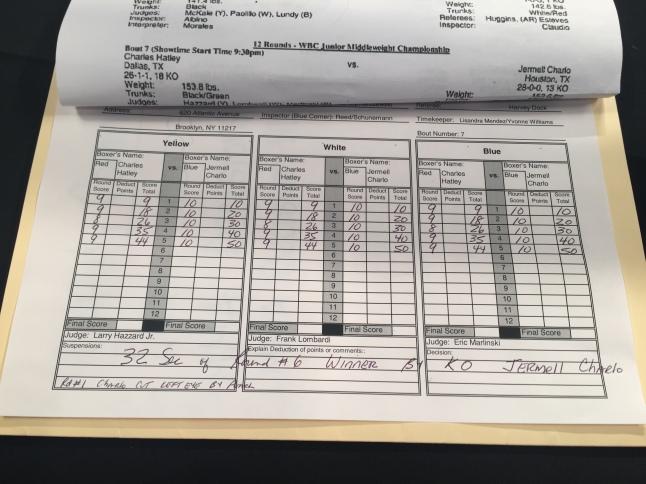 Charlo vs. Hatley Scorecard
